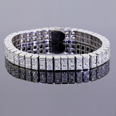 Diamond Tennis Bracelet White Gold Invis'