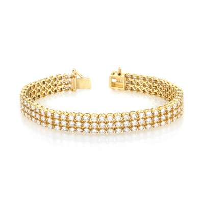 White Diamond 3-Rows Tennis Bracelet In 14K Yellow Gold