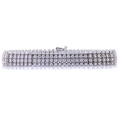 Diamond Tennis Bracelet White Silver Prong