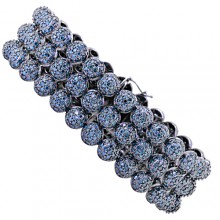 Blue Diamond Half Bead 2D Tennis Bracelet White Gold Prong