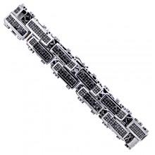 Black Diamond Tennis Bracelet White 14K Gold 19.30 ct Invis 88.60 g