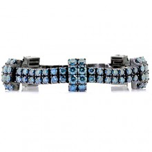 Blue Diamond Tennis Bracelet Black 10K Gold 35 ct. Prong 53 g