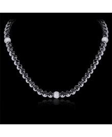 Black White Diamond Bead Chain Necklace