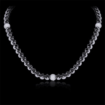 Black White Diamond Bead Chain Necklace