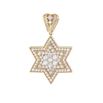 Star of David Diamond Pendant In Prong & Micro Pave'