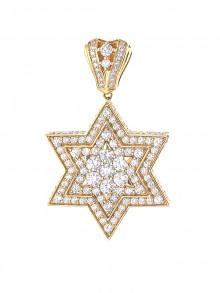 Star of David Diamond Pendant In Prong & Micro Pave'
