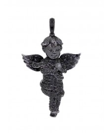 1.5  Inch Black Gabriel's Angel Diamond Pendant