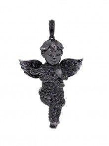 1.5  Inch Black Gabriel's Angel Diamond Pendant