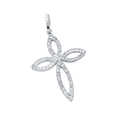 Diamond Cross Pendant White 14K Gold D 0.16ct 64 Stones Micro Pave' 0.88g