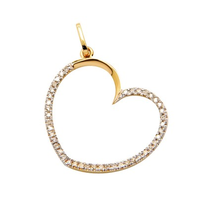 Diamond Heart Pendant Yellow 14K Gold D 0.11ct 43 Stones Micro Pave' 0.79g