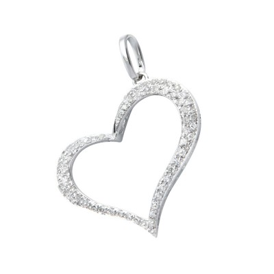 Diamond Heart Pendant White 14K Gold D 0.16ct 63 Stones Micro Pave' 0.92g