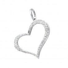 Diamond Heart Pendant White 14K Gold D 0.16ct 63 Stones Micro Pave' 0.92g