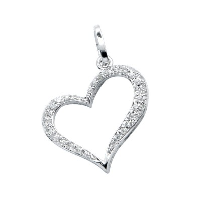 Diamond Heart Pendant White 14K Gold D 0.11ct 44 Stones Micro Pave' 0.79g