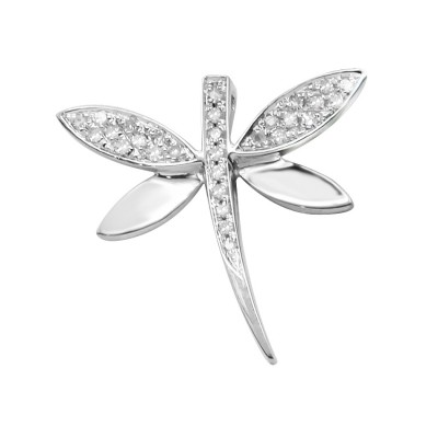 Diamond DragonFly Pendant White 14K Gold D 0.07ct 29 Stones Micro Pave' 0.88g