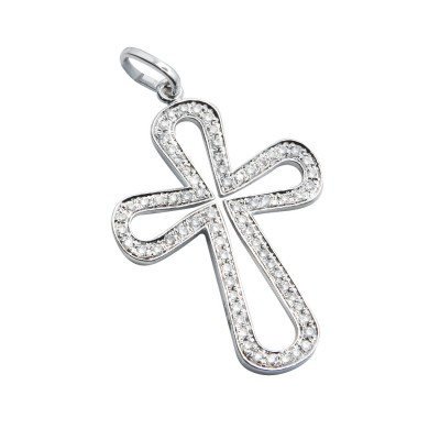 Diamond Cross Pendant White 14K Gold D 0.17ct 70 Stones Micro Pave' 1.53g