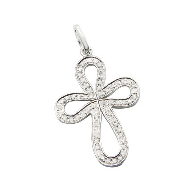 Diamond Cross Pendant White 14K Gold D 0.15ct 62 Stones Micro Pave' 1.3g