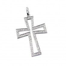 Diamond Cross Pendant White 14K Gold D 0.19ct 76 Stones Micro Pave' 1.46g