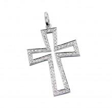 Diamond Cross Pendant White 14K Gold D 0.19ct 76 Stones Micro Pave' 1.46g
