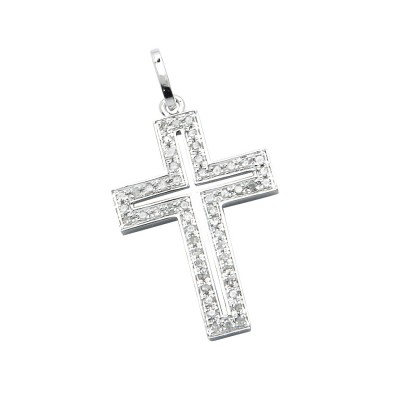 Diamond Cross Pendant White 14K Gold D 0.06ct 22 Stones Micro Pave' 0.69g