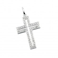 Diamond Cross Pendant White 14K Gold D 0.06ct 22 Stones Micro Pave' 0.69g