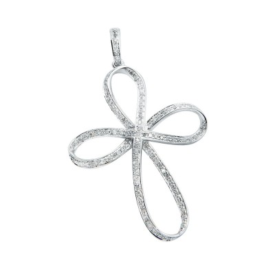 Diamond Cross Pendant White 14K Gold D 0.28ct 113 Stones Micro Pave' 2.31g