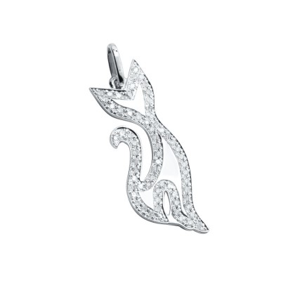 Diamond Cat Pendant White 14K Gold D 0.16ct 66 Stones Micro Pave' 1.35g