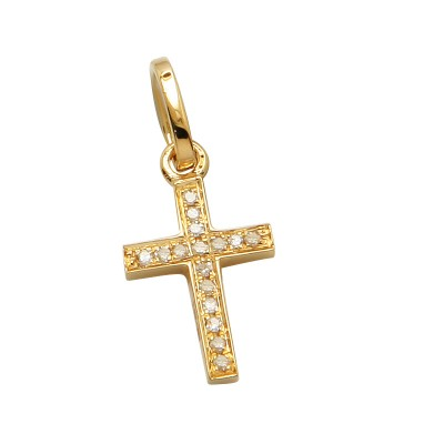 14K Gold Cross Diamond Pendant Micro Pave Set