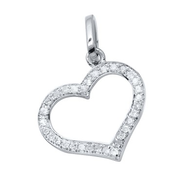 Diamond Heart Pendant White 14K Gold D 0.08ct 32 Stones Micro Pave' 0.57g
