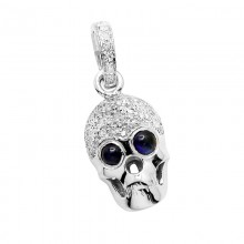Diamond Skull Pendant White 14K Gold D 0.09ct 50 Stones Micro Pave' 0.89g