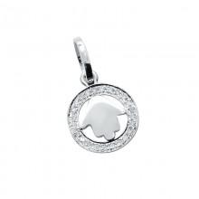 Diamond Hamsa Pendant White 14K Gold D 0.05ct 24 Stones Micro Pave' 0.66g