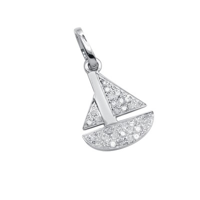 Diamond Sailboat Pendant White 14K Gold D 0.08ct 33 Stones Micro Pave' 0.57g