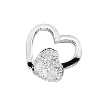 Diamond Heart in Heart Pendant White 14K Gold D 0.08ct 33 Stones Micro Pave' 0.92g