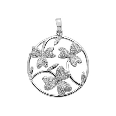 Diamond Three-Leaf Clover Pendant White & Rose Gold S.C 0.61ct Micro Pave'