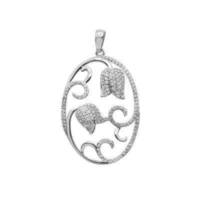 Diamond Tulips Pendant White & Rose Gold S.C 0.49ct Micro Pave'