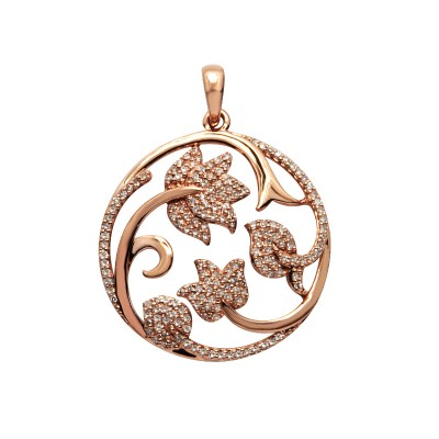 Diamond Flowers Pendant Rose Gold S.C 0.48ct Micro Pave'