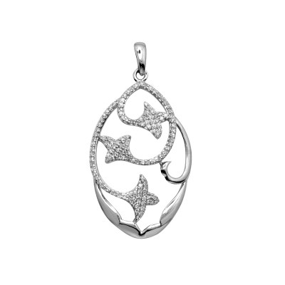 Diamond Flower Pendant White & Rose Gold S.C 0.36ct Micro Pave'
