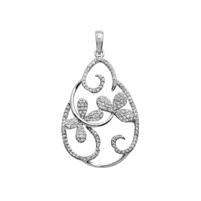 Diamond Flowers Pendant White & Rose Gold S.C 0.49ct Micro Pave'