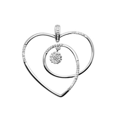 Diamond Heart Pendant White & Rose Gold D 0.16ct & SCD 0.12ct Micro Pave'