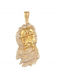 Diamond Moses Head Pendant In MIcro Pave'