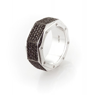 Black Diamond Spinning Band In 14K White & Black Gold