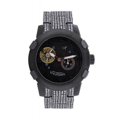 Rafaello & Co Scorpion White Diamond Black Tourbillon Watch